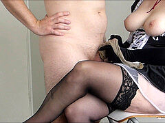 [MINI] gorgeous french maid gives hand-job with hitachi, satin gloves, cum on apron