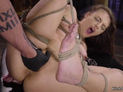 Hogtied brunette pussy toyed by master