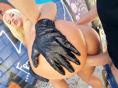 Big-assed Latina Blondie Fesser loves getting fucked in public