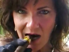 Attractive Cougar Deauxma Makes love Her Muff & Bum With A Cigar