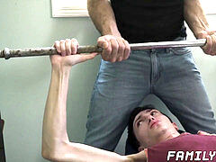 Skinny stepson gargles his stepdads massive fuck-stick before raw sex