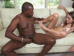 Unbelievable anal chapter by underweight babe and besides brutal black lad