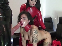 A pair of Hoes In Red Latex Play With Each Supplementary and moreover Fuck Lad