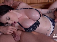 British Babe's Titty Fuck Doggy Style Sauna Threesome