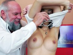 Aged guy gets naked a hot petite 18-19 year old and also besides he licks her nipples and also besides snatch
