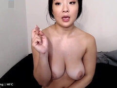 Fetish webcam show with busty Asian camgirl - big natural tits, dildo riding & nipple torture