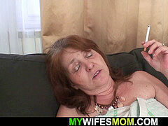 aged huge-titted mother-in-law rides his cuckold cock