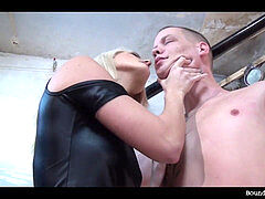 superior chick providing bound guy a hard time and a hard one