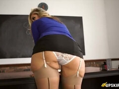 Blondie educator in micro-skirt makes complaints about studs looking under her mini-skirt ...