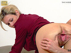 enslaved MILF's pussy gaped and fucked stiff by young dude