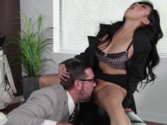 Gorgeous Asian secretary with a bush fucked by her boss