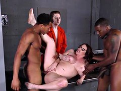 Bigtitted Maggie Green Has Interracial 3some In Jail