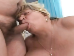 Plumper granny fellating old sausage