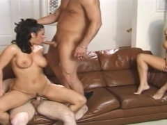 Dark Hair Girl Babe Gets Double Teamed While  - group fucking nailing procreation
