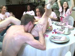 Babes suck stripper dick at the wildest bachelorette party ever