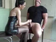Restrained man submissed by European domina! Precious Female domination!