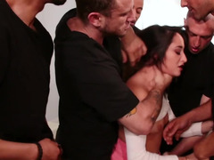 Sweet Latina girl properly gangbanged in all her holes
