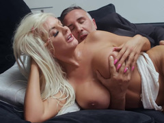 Adorable blonde dame sucks dick of her gentleman and gets banged