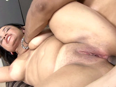 Tall dame with a huge rack is getting a dick in her pubic mound