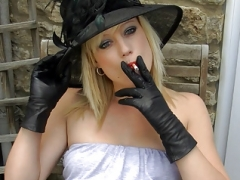 Smoking blonde upskirt pink slit in leather gloves