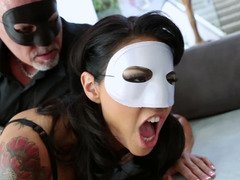 A xxx babe is fucked by a dude that has a mask on