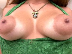 Lady with large puffy nipples and glasses is getting licked