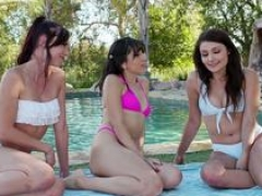 Lascivious bikini babes toying each other's assholes