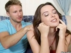 Attractive brunette Natalie Heart gets fucked doggy style by her pals brother