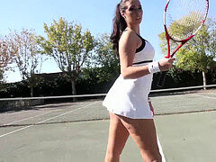 pawg Paige Turnah outdoor tennis lessons turn in a vagina getting off