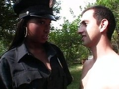 Ebony police officer babe getting down and dirty white dick