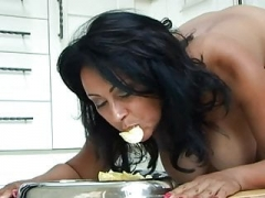 CMNF - Breasty slave pet domestic naked routine