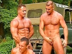 Lads show some muscle in the woods