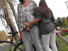 Lucky guy gets public handjob & outdoor quick blowjob from gf