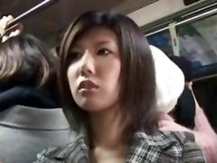 Japanese Aroused Broad On The Bus