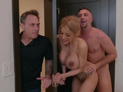 Slutty housewife Amber Alena fucks lover right under her husband's nose