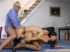 Pervert old fart fucked Lara Latex and her girlfriend