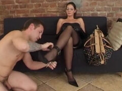 Slave licks shoes and worships feets