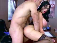Voluptuous female blows and furthermore rides purple rod of her excited boss