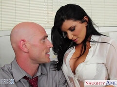 Office babe in high heels Romi Rain fucking