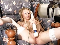 Hot Femorg Blonde in Stockings Bates Dripping wet Cum bucket to Orgasm