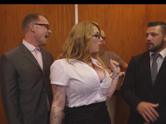 Secretary slut Harmony Reigns has a threesome in the elevator