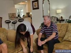 Kinky bitch gets her pussy slammed by an mature grandpa