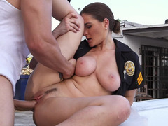 Burglar and also hot cop Molly Jane banging on the hood of her car