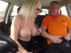 Blonde Louise Lee with fake tits sucks dick and fucks in the car