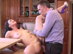 Vicki Chase getting anal groped in the kitchen by her hubby's employee