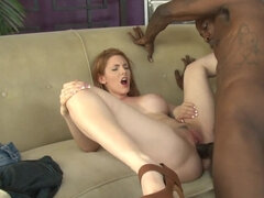 Redhead plays with giant black cock in crazy interracial scene