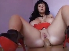 PAWG riding vibrator up her butt