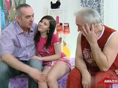 Old and Young Threesome Porn