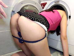 Friend's wifey stuck in washing machine and I screwed her