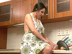 obese babe in the kitchen commenced tugging